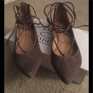Steve Madden Taupe Eleanorr Ankle Wrap Flats